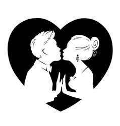 silhouettes of man and woman merge into kiss vector image