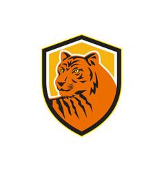 tiger head front crest retro vector image vector image