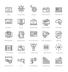Web and seo line icons 1 vector