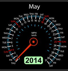 2014 year calendar speedometer car in May vector image