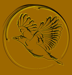 a postcard with a bird and a crow as a medal vector image