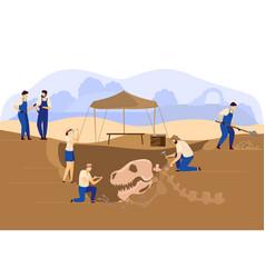 Archaeologists paleontologist excavation vector