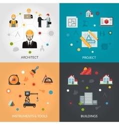 architect flat set vector image