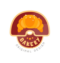 bakery shop logo design template badge for bread vector image