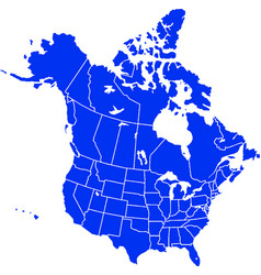 Blue colored north america outline map political vector