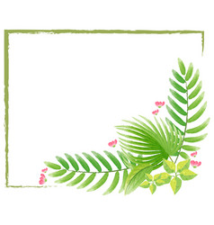 Border template with watercolor painting of leaves vector