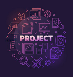 business project round colorful outline vector image