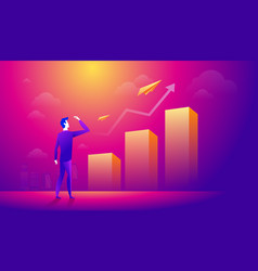 businessman looking at a paper plane over growing vector image