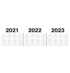 Calendar 2021 2022 and 2023 template vector