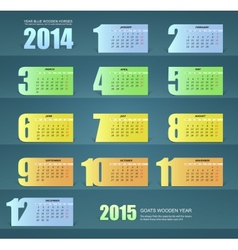 Calendar for the year 2014 paper design vector image