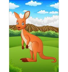 Cartoon kangaroo in australian outback vector
