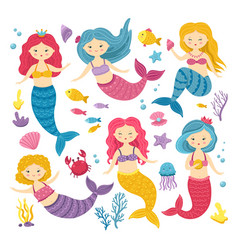 cartoon mermaids cute princess clipart mermaid vector image