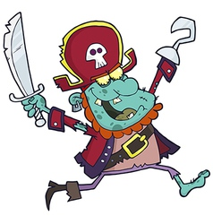 Cartoon Pirate Zombie With A Cutlass vector