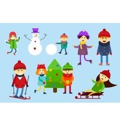 Christmas kids playing winter games Skating vector