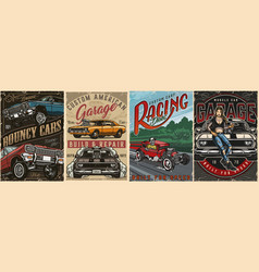 Colorful custom cars vintage posters vector