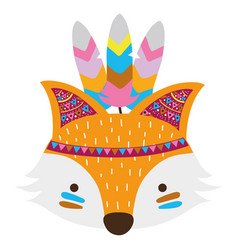 Colorful cute fox head animal with feathers vector