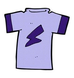 Comic cartoon t shirt with lightning bolt vector