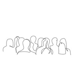 Continuous one line silhouette a crowd of vector