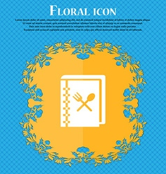 Cook book icon sign Floral flat design on a blue vector