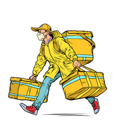 courier in a medical mask food delivery during vector image
