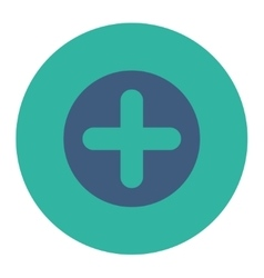 Create flat cobalt and cyan colors round button vector