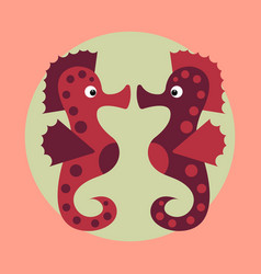 cute cartoon orange seahorse isolated vector image