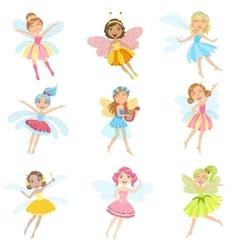 Cute Fairies In Pretty Dresses Girly Cartoon vector image