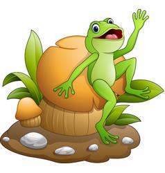 cute frog dancing with mushroom vector image