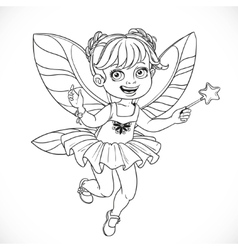 Cute little fairy girl with a Magic wand outlined vector image
