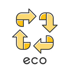 Eco label color icon four yellow angled arrow vector