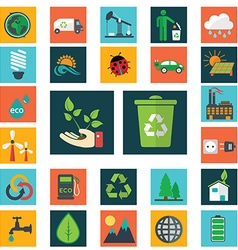 Energy and industry icons set go green icons vector image