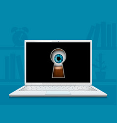 eye looks into keyhole on laptop screen vector image