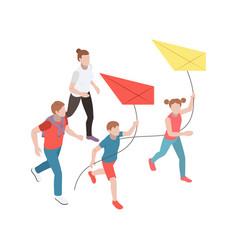 Family leisure isometric icon vector
