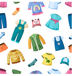 fashion clothes for little kid seamless pattern vector image