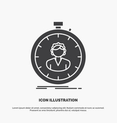 Fast speed stopwatch timer girl icon glyph gray vector