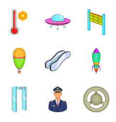 flight aviation icons set cartoon style vector image