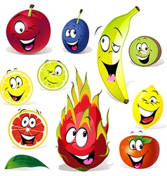 Fruit cartoon with many expressions vector