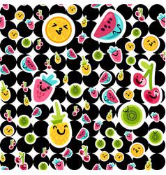 fruit emoji color seamless pattern vector image