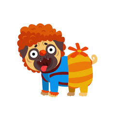 Funny pug dog character dressed as carlson funny vector
