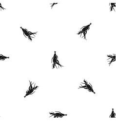 Ginseng panax root pattern seamless black vector
