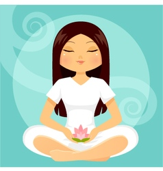 Girl in meditation posture vector