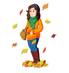 Girl with autumn leaves vector