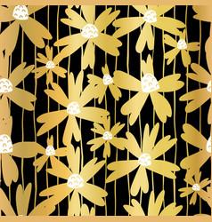 Gold foil flowers on black seamless pattern vector