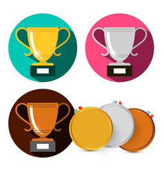 gold silver and bronze cups medals set isolated vector image