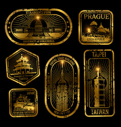 Gold vintage travel stamps with monuments and vector
