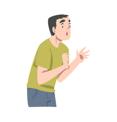 Guy with shocked face expression mood people vector