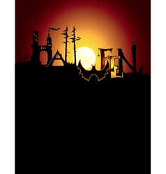 halloween background and title vector image