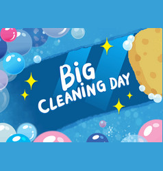 hand drawn doodle big cleaning day colorful vector image