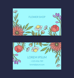 hand drawn flowers business card template vector image