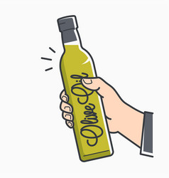 hand hold olive oil male hand holding olive vector image